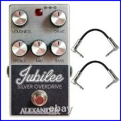 Alexander Jubilee Silver Overdrive Guitar Effects Pedal Stompbox + Cables